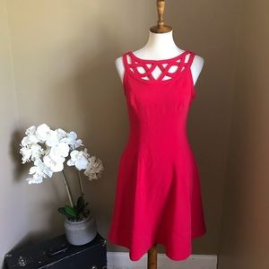 White House Black Market Red Fit & Flare Dress